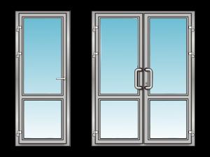 Алюминиевые двери с импостом
