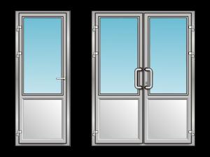 Алюминиевая дверь со стеклом и сендвич-панелью