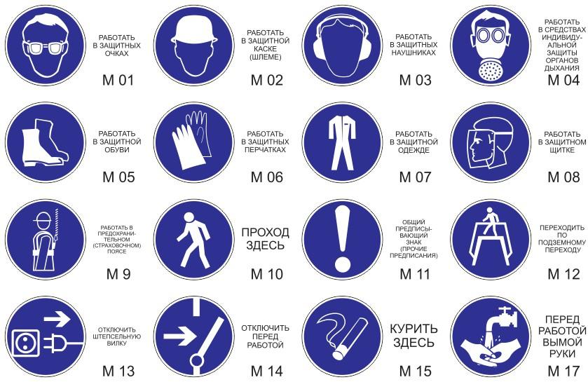 Знаки предписывающие М01 - М15