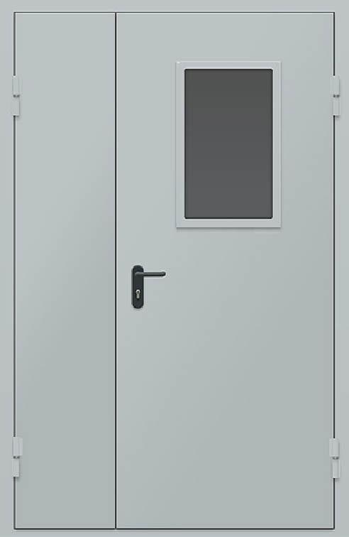 Дверь противопожарная двупольная со стеклом