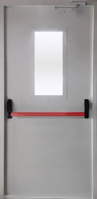 Дверь  противопожарная EI 60 с ручкой Антипаника однопольная металлическая со стеклом (ДПМ 01-60)