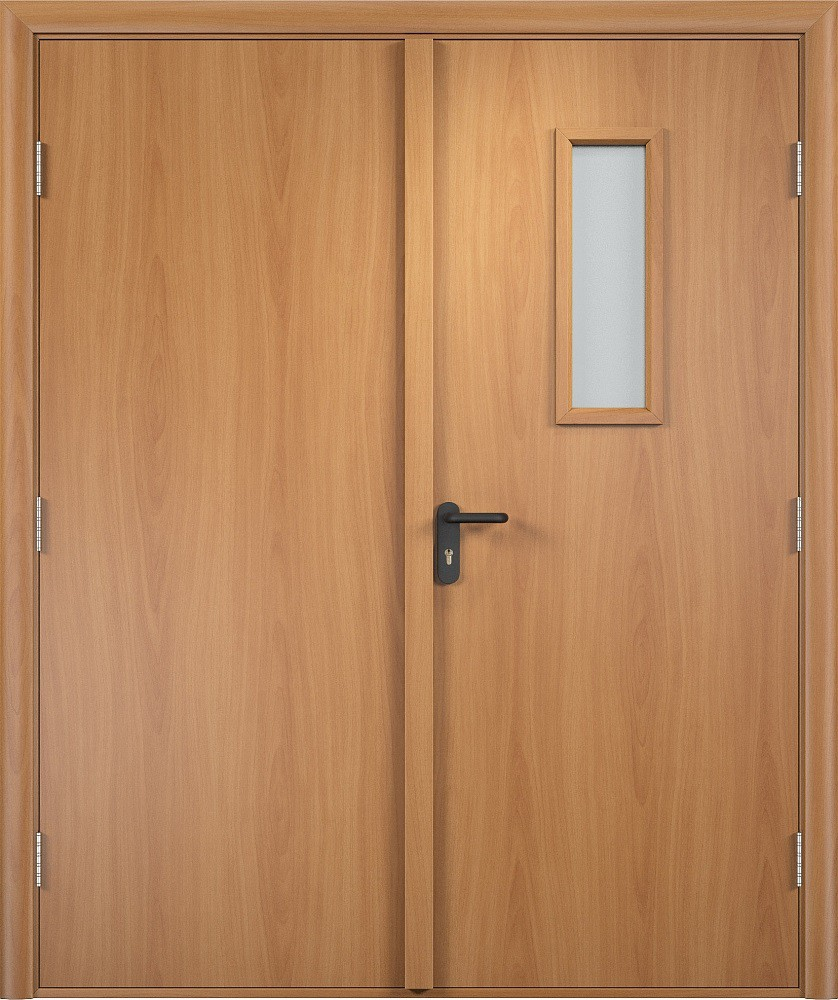 Дверь деревянная двупольная противопожарная со стеклом EI60