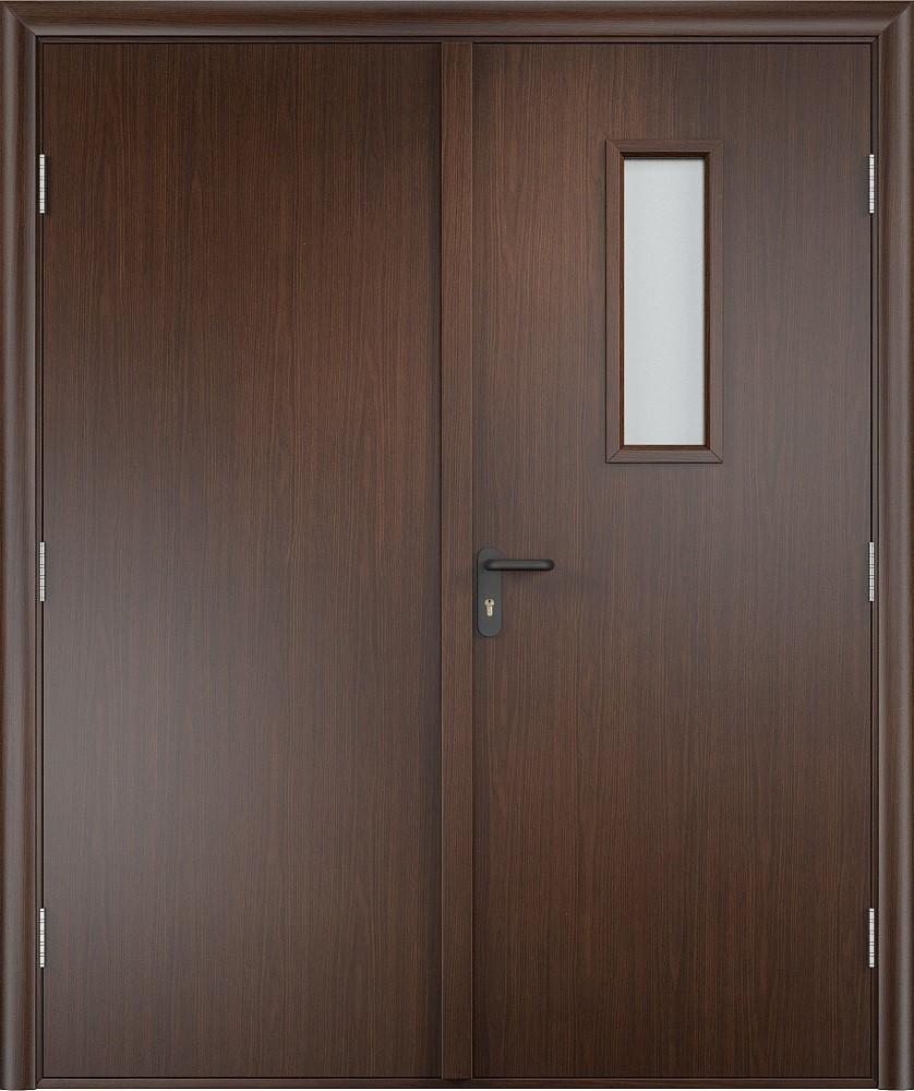 Дверь двупольная со стеклом ПВХ EI 60 деревянная противопожарная