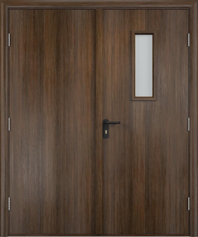 Дверь противопожарная со стеклом  Экошпон EI 30 двупольная деревянная